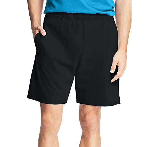 Hanes Men's Jersey Short with Pockets, Black, Large