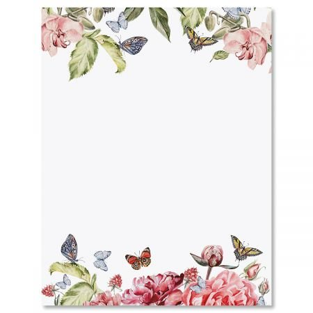 (Flutter of Florals Easter Letter Papers - Set of 25 Spring Stationery Papers are 8 1/2