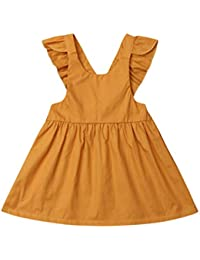 f7ff6215aab Baby Girls Suspender Skirt Infant Toddler Ruffled Casual Strap Sundress  Summer Outfit Clothes