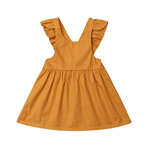 Karuedoo Baby Girls Suspender Skirt Infant Toddler Ruffled Casual Strap Sundress Summer Outfit Clothes (3-4T, Yellow)