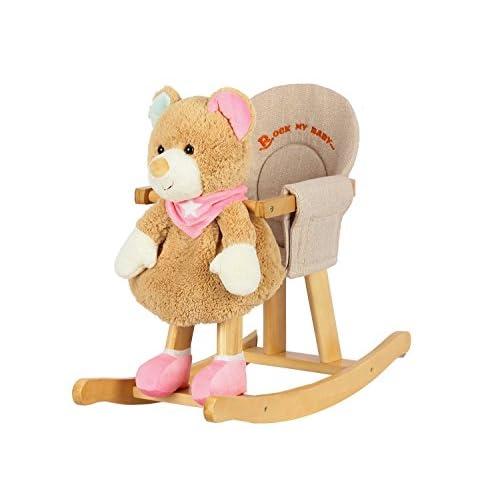 """Dunjo® Bascule """"ourson brun et rose"""" avec fauteuil (65507)"""