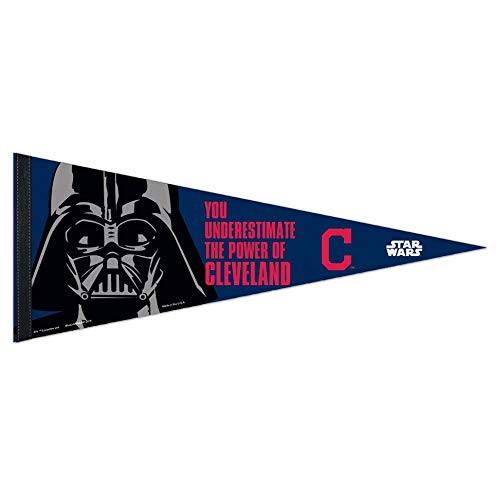 Indians Banner Cleveland (Bek Brands Baseball Teams Special Collector's Flag Banner Pennant with Yoda, Chewbacca, Darth Vader, 12 x 30 in (Cleveland Indians, Darth Vader))