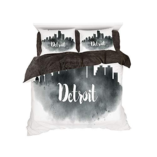 Flannel Duvet Cover Set 4-Piece Suit Warm Bedding Sets Quilt Cover for bed width 5ft Pattern by,Detroit Decor,Smoky City Skyline with Brushstrokes Hand Written Letters Buildings,Black Silver White -