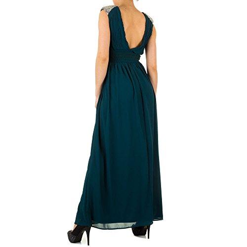 Ball Strass Grün Abend KL Design Ital KL0506 Damen Kleid Pailletten Maxi Kleid qSnnXFUw6I