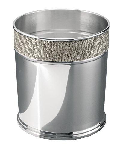 mDesign Decorative Round Small Trash Can Wastebasket, Garbage Container Bin for Bathrooms, Powder Rooms, Kitchens, Home Offices - Polished Stainless Steel with Woven Metallic Textured ()