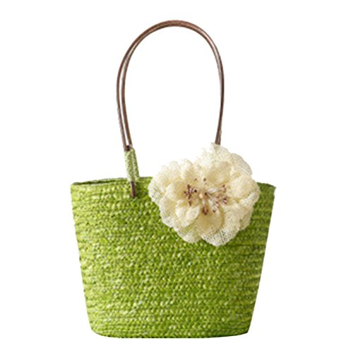 Straw Handbag YOUJIA Flower Shoulder Green Women Tote Beach Handbags Woven 1 Casual FqH1zEwxTq