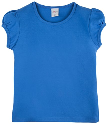 (Lovetti Girls' Basic Short Puff Sleeve Round Neck T-Shirt 3T Royal Blue)