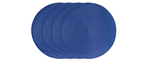 Ritz Round Easy-Clean Reversible Woven Placemat, Navy, Set of 4