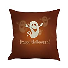 "18"" x 18"" Happy Halloween Pillow Cases,Woaills Flax Sofa Cushion Cover Home Decor - Removable and Washable (C)"