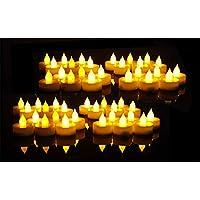 EverBrite Lot de Bougies à LED Sans Flamme Decoration pour Table Soirée Anniversaire Mariage (Jaune Claire) 48 Pièces