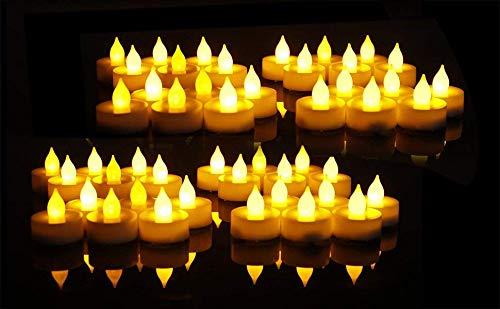 Everbrite LED Kerzen mit beweglicher Flamme, Romantische Echt Flammen Effekt LED Echtwachskerzen für Party und Haushalt 48 Stück LTD E007030AU