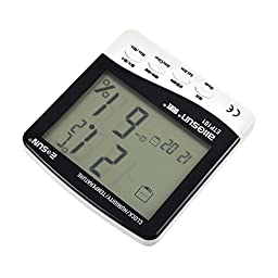 all-sun Digital Alarm Clock Thermo-hygrometer LCD Temperature Moisture Meter with Data Storage Function