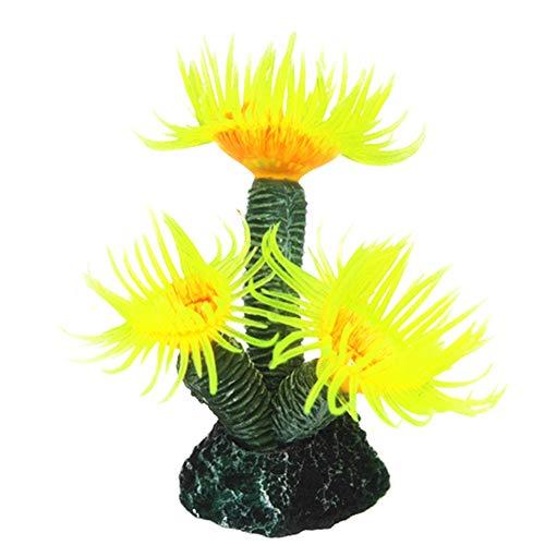 yingyue Fish Tank Artificial Coral Simulation Decoration Aquarium Landscape Ornament - - Yellow Mushroom Coral