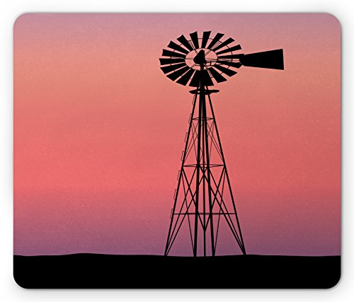 Windmill Mouse Pad by Ambesonne, Windmill Silhouette at Dreamlike Sunset Western Ranch Agriculture Theme, Standard Size Rectangle Non-Slip Rubber Mousepad, Coral Lilac and Black (Ranch Silhouette)
