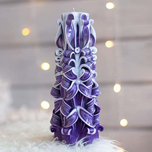 Large Carved candle 10 ins purple - Christmas table centerpieces - Unique gift for woman (Unique Christmas Centerpieces)