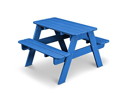 POLYWOOD KT130PB Kids Picnic Table, Pacific Blue (Polywood Table Picnic With Benches)