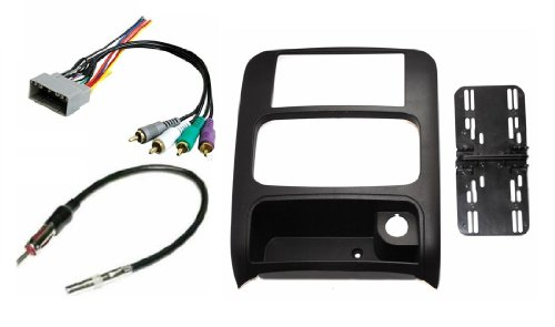 Jeep Liberty 2003 2004 2005 2006 2007 Aftermarket Double Din Radio Installation Dash Kit Bezel + Premium Wire Harness & Antenna Adapter ()