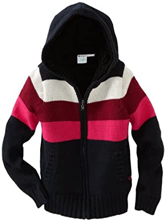 Roxy Big Girls' Keep Cozy Chunky Sweater, True Black Stripe, Small