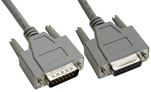 Amphenol CS-DSDMDB15MF-015 15-Pin DB15 Deluxe D-Sub Cable, Shielded, Male/Female, 15', Gray (Pin D-sub 15)
