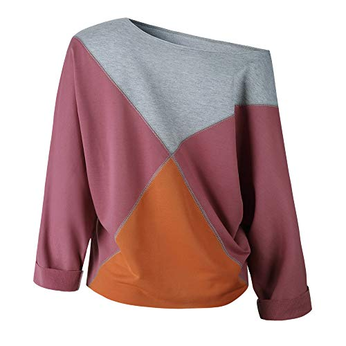 Shirt Blouse Strapless Patchwork Long Pullover Purple Women T Rawdah Fashion Sleeve Sweatshirt n8q07c6aw
