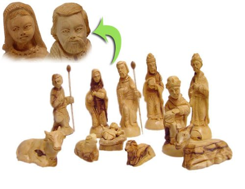 Deluxe Olive Wood Nativity Set- Hand Carved in Bethlehem, the Holy Land. by zytoon by zytoon