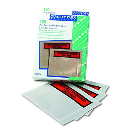Quality Park 46894 Top-Print Front self-Adhesive Packing List envelopes with Clear Window, 100/box (Renewed)