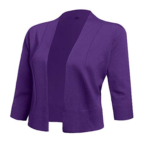 (AAMILIFE Women's 3/4 Sleeve Cropped Cardigans Sweaters Jackets Open Front Short Shrugs for Dresses (X-Large, Purple))
