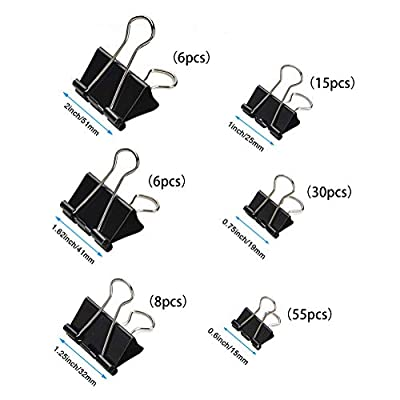 120pcs Binder Clips Paper Clamp, Mini / Micro / Small / Medium / Large / Jumbo 6 Assorted Sizes Paper Clasp for Office, School and Home Supplies