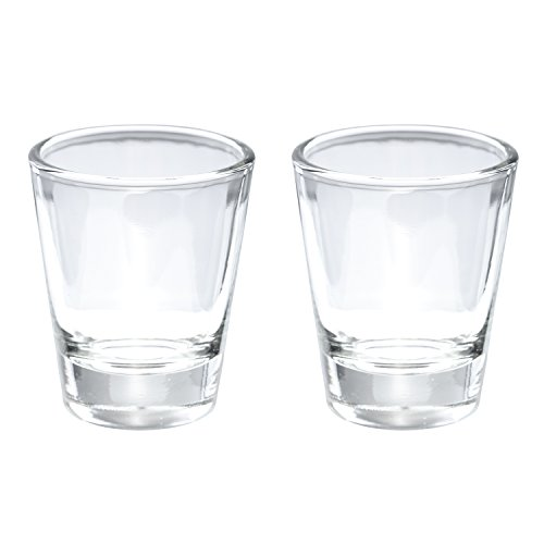 Thirsty Rhino Karan, Round 1.5 oz Shot Glass with Heavy Base, Clear Glass, Set of 2
