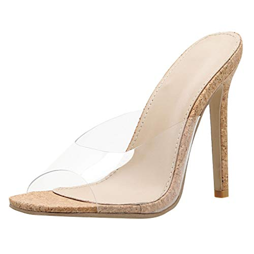 Thin High Heel Sandals Women-Transparent Open Toe Single Band Pump Dress Shoes Khaki
