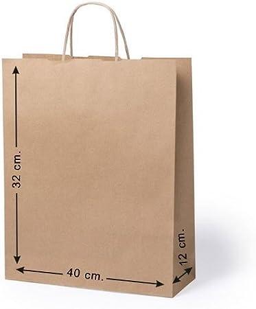 10 x Bolsas de papel con asas. Tam 32 x 40 x 12 Cm