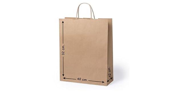 10 x Bolsas de papel con asas. Tam 32 x 40 x 12 Cm: Amazon ...
