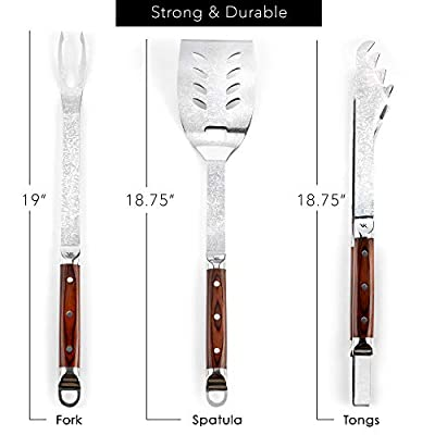 VonKin Barbeque Tool Set, Features Tongs, Spatula, Fork with Damascus Finish Pattern - Stainless Steel Grill Utensil Kit with Gift Box for BBQ, Grilling - Premium Stylish Grill Accessories for Men