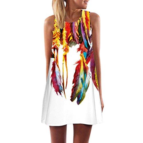 (Clearance! Ruhiku GW Womens Dress Summer O-Neck Boho Sleeveless Floral Printed Beach Mini Dress Casual T-Shirt Short Dress (S, A1))