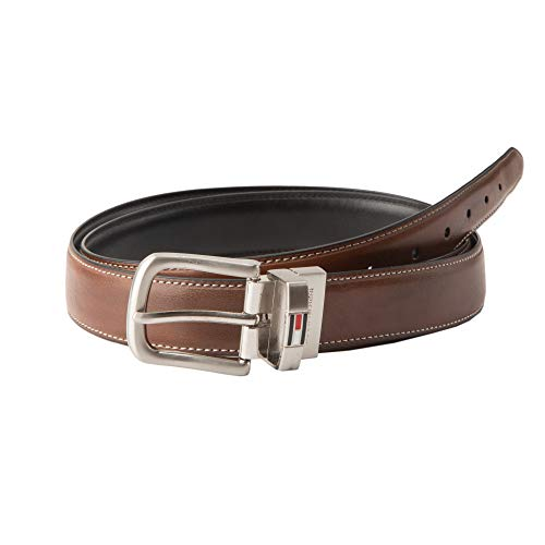 Tommy Hilfiger Reversible Leather Belt - Casual for Mens Jeans with Double Sided Strap and Silver Buckle, Dark Brown, 34]()