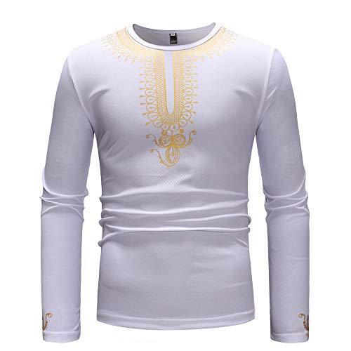 Koolsants Men Autumn Winter Luxury African Gold Print Long Sleeve Dashiki Shirt Top Blouse