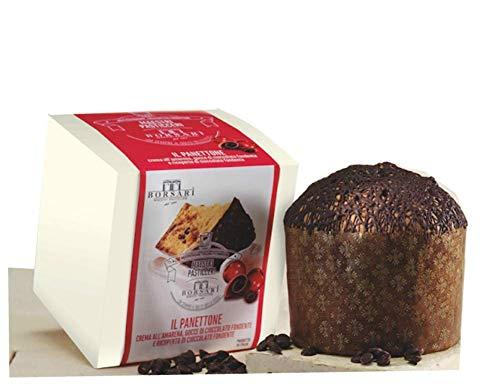 Borsari Panettone Cake with Amarena Cherries Cream, Dark Chocolate Chips, Topped with Dark Chocolate, 500g, Made in Italy (500g Cake Chocolate)