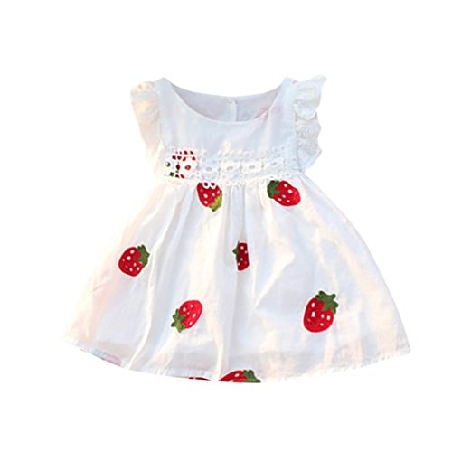 Sagton® Summer Toddler Dress Kids Baby Girls Clothes Floral Strawberry Embroidery Sleeveless Dress (Strawberry, 18-24M)