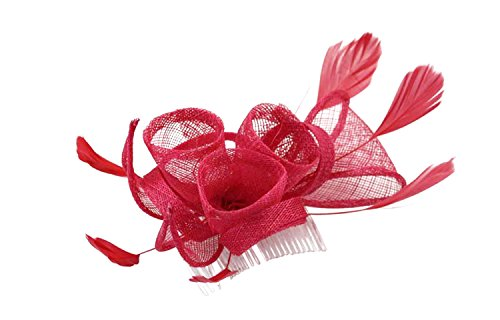 Southern Charm Sinamay Fascinator Hair Comb with Flowers and Feathers for Adults Women Teens Girls (Hot - Pink Trees Flowers