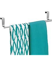 mDesign Stojak na ręczniki kuchenne - kuchenny uchwyt na ręczniki do herbaty do drzwi szafki - nad szafką wieszak na ręczniki do herbaty i rąk - chrom