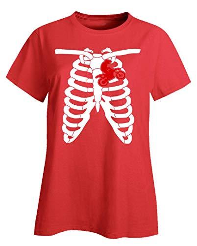 Motocross Dirt Bike Red Biker Heart Chest and Rib Bones - Ladies T-Shirt ()
