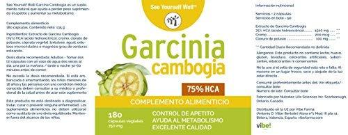 Garcinia Cambogia SYW. 75% HCA. (180 cápsulas de 750 mg). Extracto puro de Garcinia Cambogia. Suplemento para la pérdida de peso. Activa el ...
