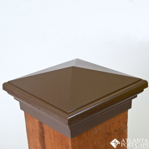 6x6 Post Cap -(Case of 14) Mocha Brown Pyramid Top - With 10 Year Warranty by Atlanta Post Caps