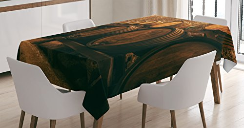 (Ambesonne Winery Decor Tablecloth, Barrels for Storage of Wine, Italy Oak Container in Cold Dark Underground Cellar, Dining Room Kitchen Rectangular Table Cover, 60 X 90 inches)