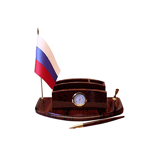 Office writing desk organizer made from natural obsidian, office desk set with clock and flag of any country, hand crated office design - Central Galleria