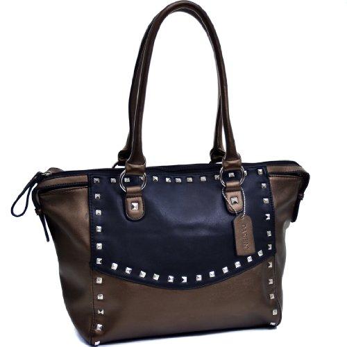 Tote Shoulder Bag Fashion Handbag Top Zip Purse Two Tone Shopper Large Black/Bronze ()
