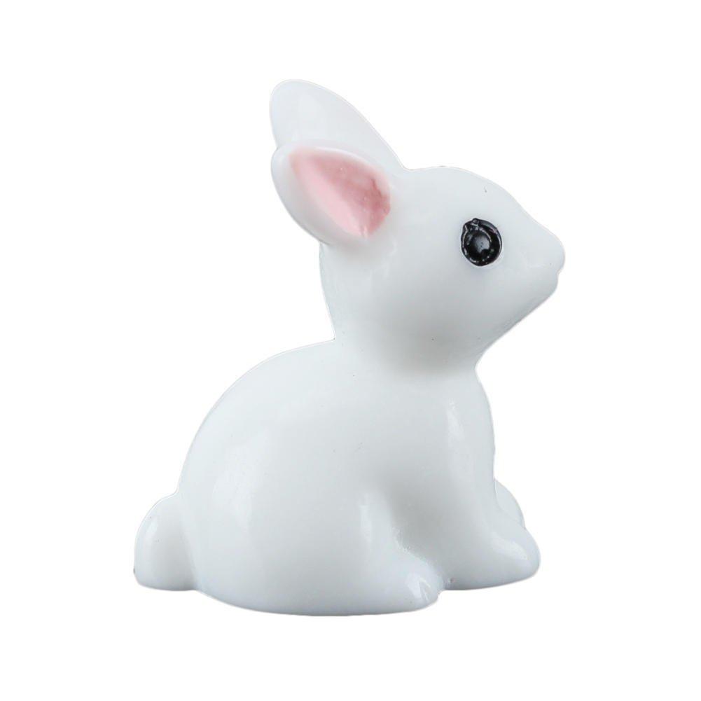 10x Miniature Fairy Garden Doll house Landscape Rabbit Statue Decor White