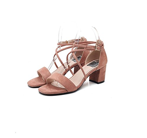 Sandalen Pink Sexy Hochzeit Classic Square Solid Bare Comfort Schnalle Heels Women's Schuhe Series Hohl LIANGXIE Formal Party Thick Zhhzz Metal twq7YxH