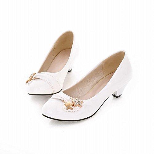 Carol Shoes Elegance Womens Fashion Chic Strass Stella Polsino Décolleté Tacco Medio Scarpe Bianche