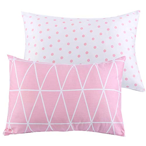 Kids Toddler Pillowcases UOMNY 2 Pack 100% Cotton Pillow Caver Pillowslip Case Fits Pillows sizesd 13 x 18 or 12x 16 for Kids Bedding Pillow Cover Baby Pillow Cases Pink Link/Dot
